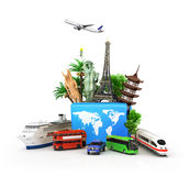 Сoncept of travel and tourism,. Attractions and world blue suitcase trucks for elom background. 3D illustrations Royalty Free Stock Image