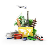 Сoncept of travel and tourism. Attractions and world yellow suitcase trucks for elom background. 3D illustrations Royalty Free Stock Image
