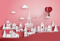 Oncept of valentine`s day and wedding. Concept of valentine`s day and wedding ,couple in love hugging in a basket of heart hot air balloon fly over the village royalty free illustration