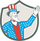 Oncle Sam American Hand Up Shield rétro Illustration Libre de Droits