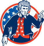 Oncle Sam American Pointing Finger Flag rétro Illustration Libre de Droits