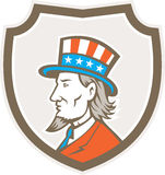 Oncle Sam American Side Shield Crest Illustration de Vecteur