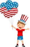 Oncle Sam avec des ballons de drapeau des Etats-Unis Photos stock