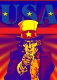 Oncle Sam avec les Etats-Unis Image stock