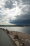 Oncoming storm over New Bedford Stock Photo