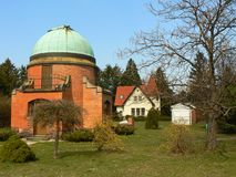 Ondřejov. The view of the old building in the areal of astronomical observatory Royalty Free Stock Photo