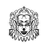 Ond clownkonst Allhelgonaaftonmaskeringsillustration vektor illustrationer