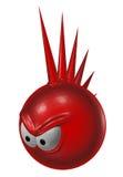 Ond röd punkrocksmiley Arkivbild