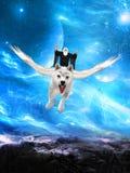 Ond trollkarl som flyger den vita vargen Royaltyfria Bilder