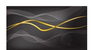 Onda abstracta con la línea del oro en fondo negro stock de ilustración