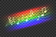Onda abstracta de la música del color de neón del arco iris del vector, notas musicales, ejemplo aislado libre illustration