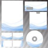 A onda abstrata azul alinha o conceito dos artigos de papelaria Fotos de Stock
