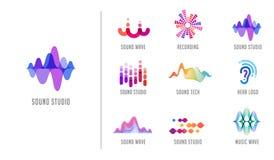 Onda acústica, música, logotipo y colección del símbolo, iconos de la producción del diseño stock de ilustración