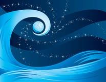 Onda alla notte con la luna Immagini Stock Libere da Diritti