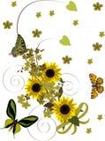 Onda amarela dos girassóis com borboletas Imagens de Stock