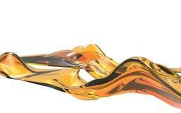 Onda arancio astratta su fondo bianco Forma futuristica illustrazione 3D Fotografie Stock