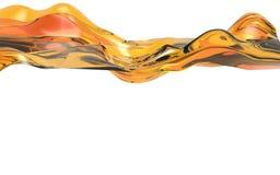 Onda arancio astratta su fondo bianco Forma futuristica illustrazione 3D Immagini Stock Libere da Diritti