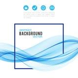 Onda azul abstracta con el marco aislado en blanco stock de ilustración