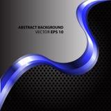 Onda azul abstracta en vector gris y negro de la malla Foto de archivo libre de regalías