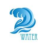 Onda azul com gotas da água da crista e de fluxo Fotos de Stock