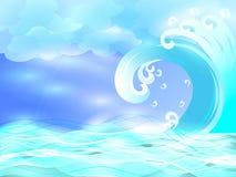 Onda blu nelle goccioline di acqua Fotografie Stock