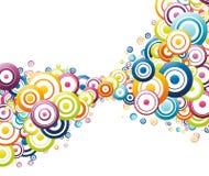 Onda colorida feita de círculos coloridos ilustração stock