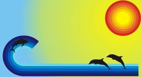 Onda com peixes Imagens de Stock