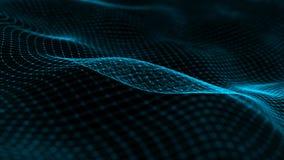 Onda con muchos puntos Red de las partículas conectadas por las líneas Fondo digital abstracto representaci?n 3d stock de ilustración