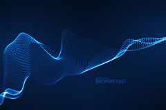 onda 3D digital de néon de incandescência das partículas Fotografia de Stock