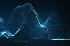 onda 3D digital de néon de incandescência das partículas Fotografia de Stock Royalty Free