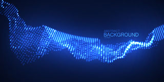 onda 3D digital de néon de incandescência das partículas Imagem de Stock