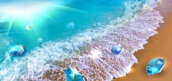 Onda da flutuação das pedras preciosas Fotografia de Stock Royalty Free