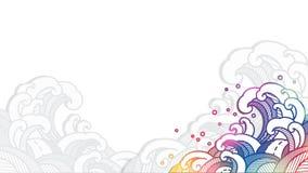 Onda de agua oriental colorida en el estilo cortado de papel libre illustration
