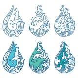 Onda de agua oriental en icono de la forma de la gotita japon?s tailand?s ilustración del vector