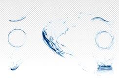 Onda de agua transparente con las burbujas Ejemplo del vector en colores azules claros Concepto de la pureza y de la frescura web libre illustration