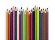 Onda de lápices coloreados Fotografía de archivo libre de regalías