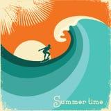 Onda de la persona que practica surf y del mar Ejemplo retro del cartel Imagen de archivo libre de regalías