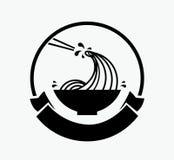 Onda de los tallarines en logotipo del cuenco Imagenes de archivo