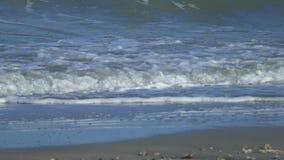 Onda de oceano gigante azul bonita do movimento lento que deixa de funcionar na praia em Tailândia vídeos de arquivo