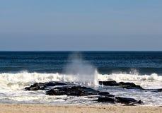 Onda de oceano que quebra sobre o molhe Fotos de Stock Royalty Free