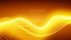 Onda de oro abstracta de la partícula del vector, arsenal de los puntos, profundidad del campo baja Ilustración futurista Tecnolo stock de ilustración