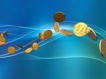 Onda de oro del dólar Foto de archivo libre de regalías