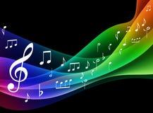 Onda del espectro de color con las notas musicales Foto de archivo