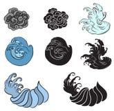 Onda del giapponese per il tatuaggio Isolato disegnato a mano su fondo bianco Immagini Stock