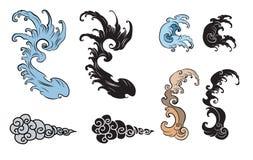 Onda del giapponese per il tatuaggio Isolato disegnato a mano su fondo bianco Immagini Stock Libere da Diritti