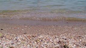 Onda del mar en la playa arenosa almacen de video