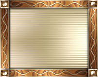 Onda del oro y marco del final de madera Imagenes de archivo