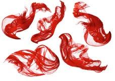 Onda del paño de la tela que fluye, materia textil de seda roja del vuelo que agita, blanca Fotografía de archivo