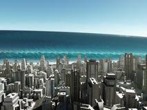 Onda del tsunami que viene a la ciudad Imagen de archivo libre de regalías