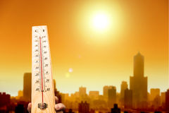 Onda di calore nella città Fotografia Stock Libera da Diritti